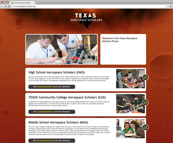 Texas Aerospace Scholars website